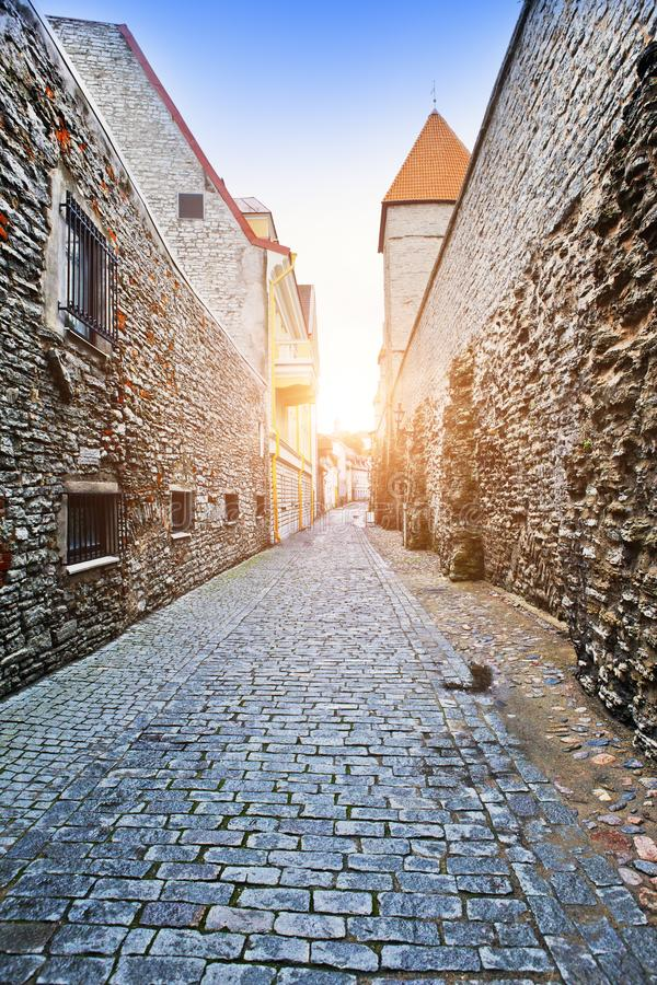 Medeltida torn, del av stadsväggen, Tallinn, Estland arkivfoto