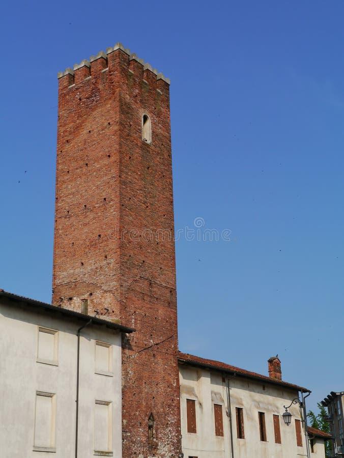 Medeltida torn i Vicenza i Italien arkivbild