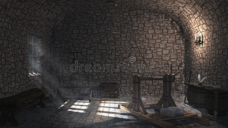 Medeltida tortyrkammare royaltyfri illustrationer