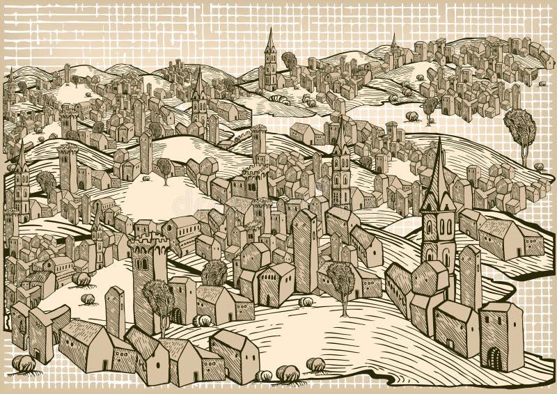 medeltida town vektor illustrationer