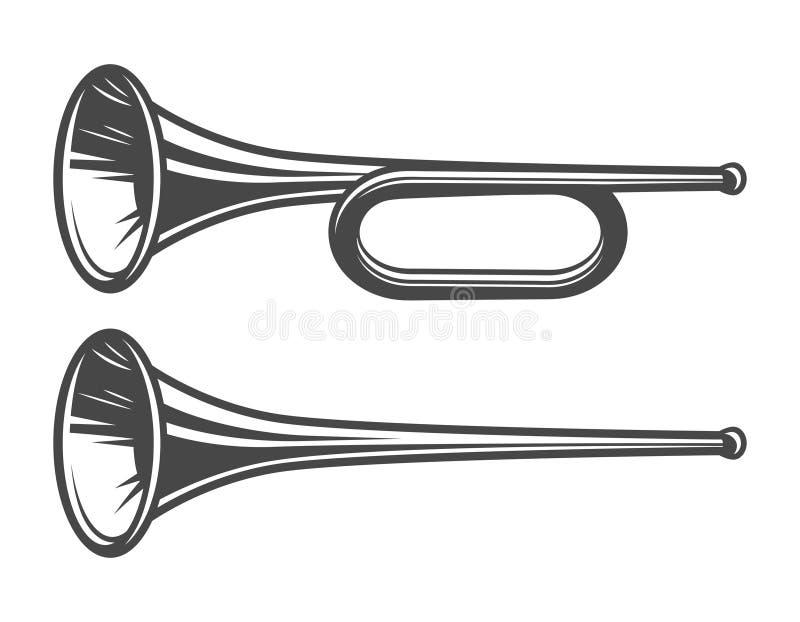 Medeltida trumpetmall för tappning royaltyfri illustrationer