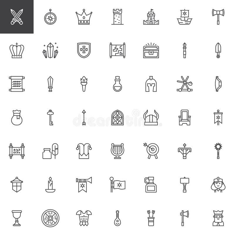 Medeltida uppsättning för beståndsdelöversiktssymboler royaltyfri illustrationer