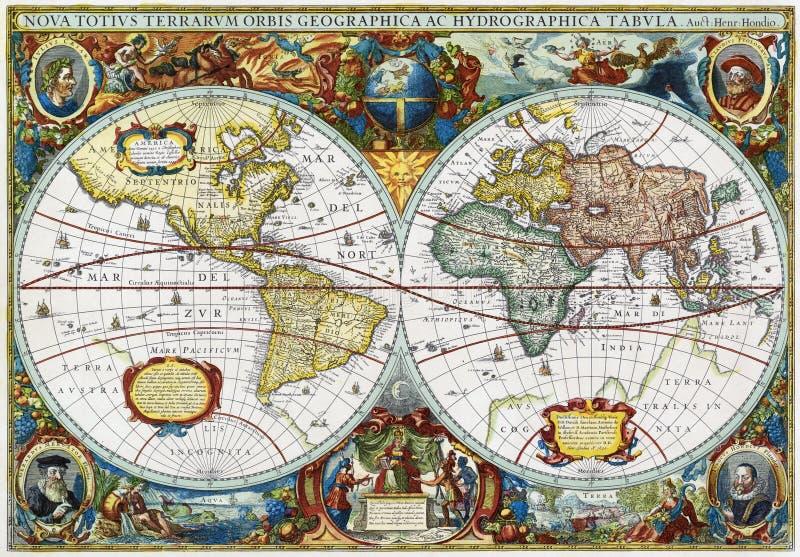 medeltida värld för forntida översikt royaltyfri illustrationer