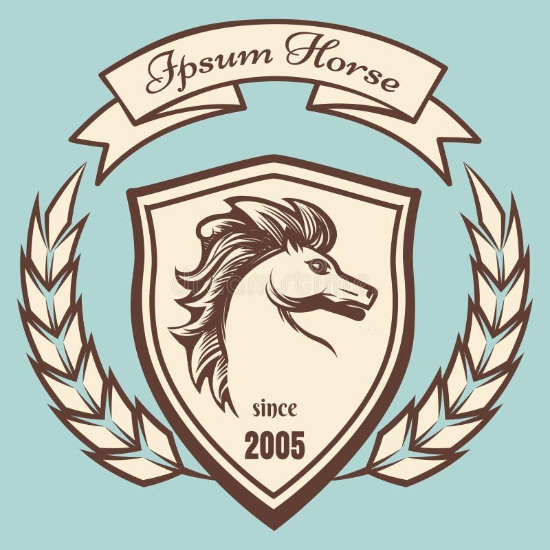Medeltida vapensköld med hästen stock illustrationer