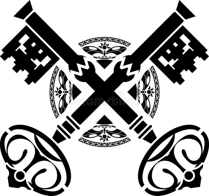 medeltida variant för första tangenter stock illustrationer