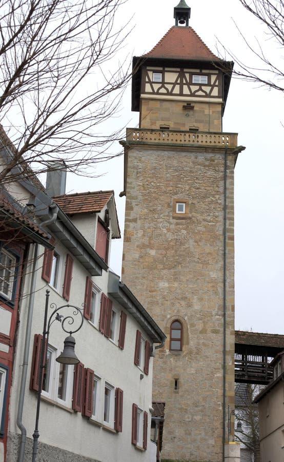 Medeltida watchtower - I - Waiblingen - Tyskland royaltyfri bild