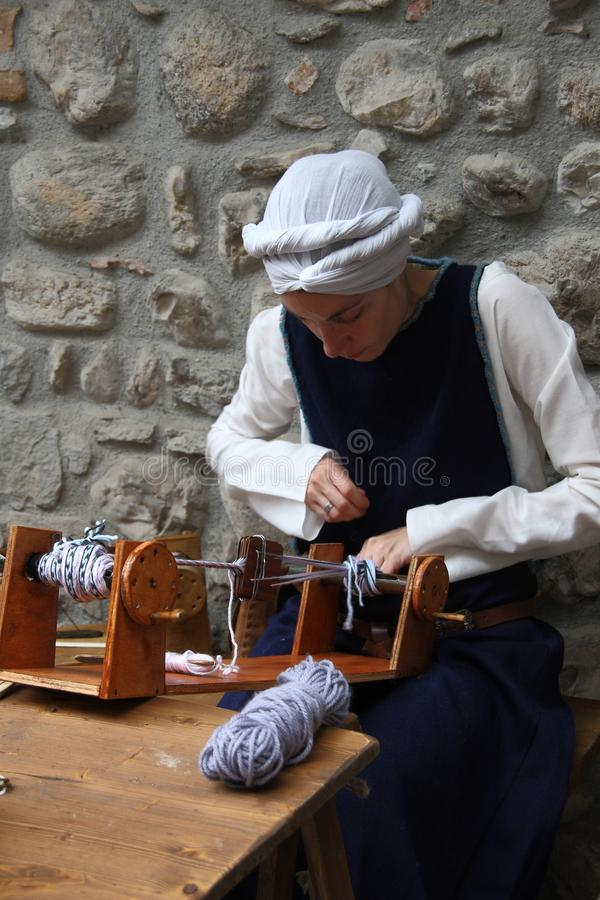 Medeltiden i Erba den medeltida marknaden - område av Villincino söndag, Maj 13, 2018 arkivfoto