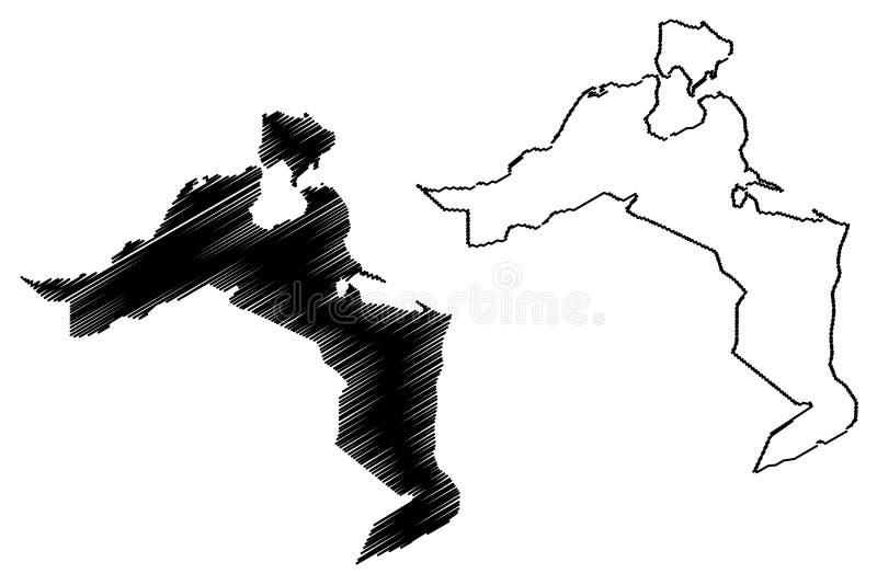 Medenine Governorate Governorates of Tunisia, Republic of Tunisia map vector illustration, scribble sketch Medenine map.  vector illustration