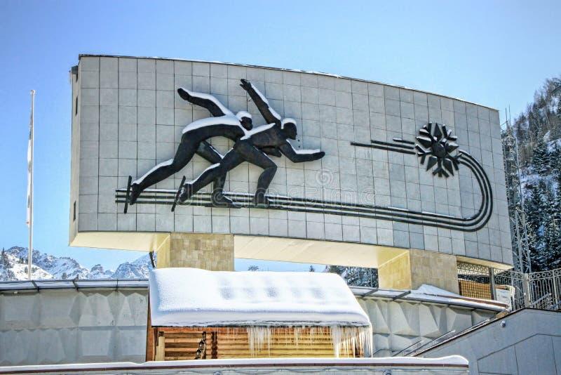 Medeo (Medeu) het schaatsen piste in Alma Ata, Kazachstan royalty-vrije stock foto
