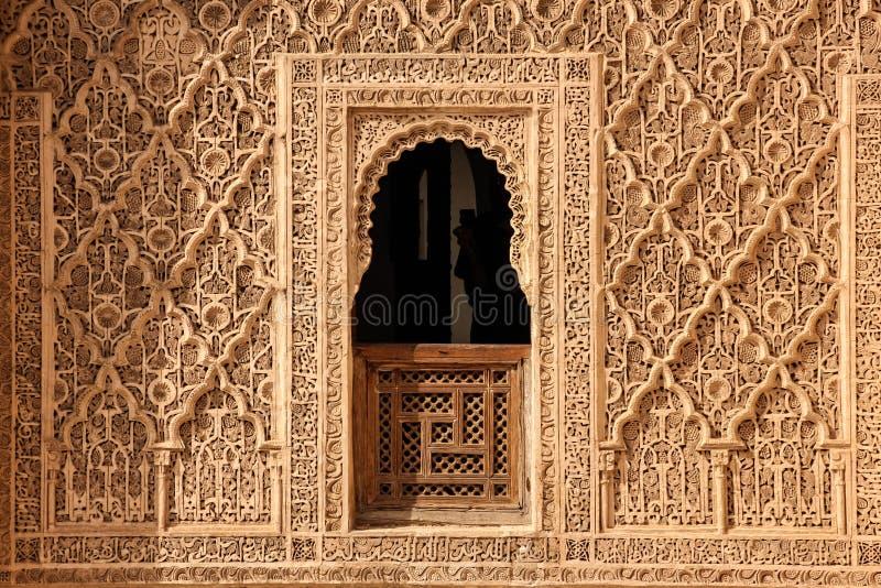 Medersa ben Youssef detail marrakech marokko stock afbeeldingen