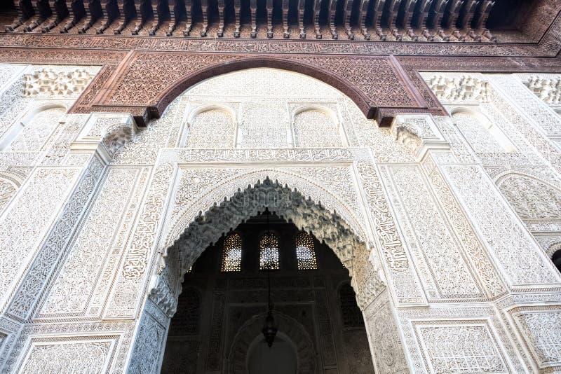 Medersa Bou Inania可兰经的学校,摩洛哥 免版税图库摄影