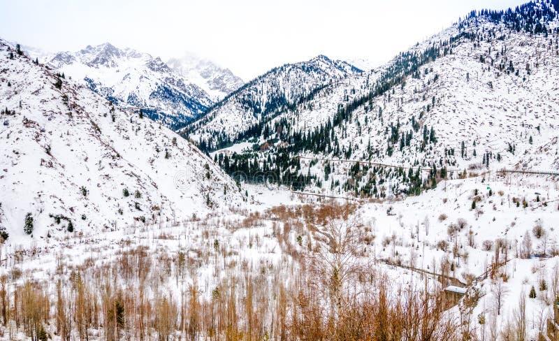 Medeu (Shimbulak) semesterort i Almaty, Kasakhstan royaltyfri fotografi