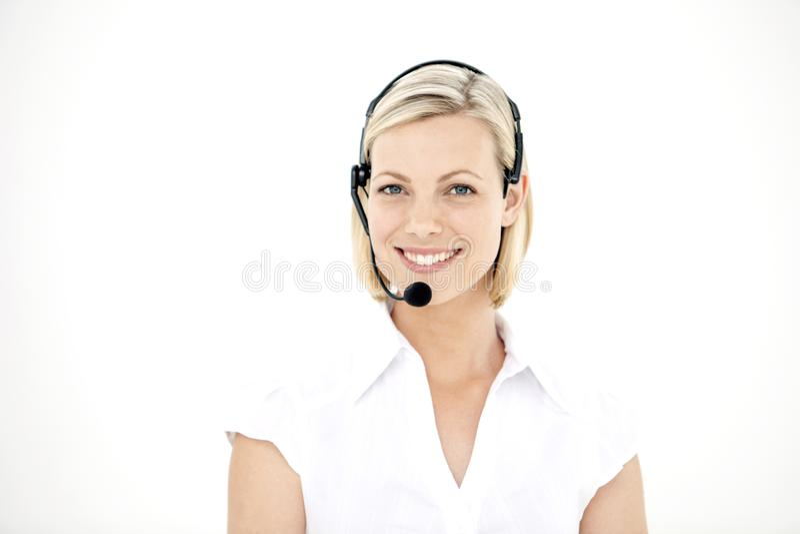 Medewerker van de klantenservice met hoofdtelefoon - portret stock foto's