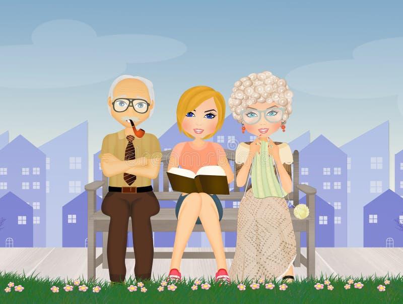 Medewerker voor de bejaarden in het verpleeghuis stock illustratie