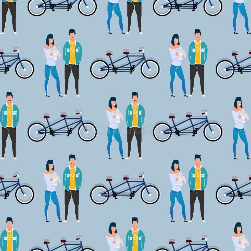 Medewerkers en Fiets Naadloos Patroon Achter elkaar vector illustratie