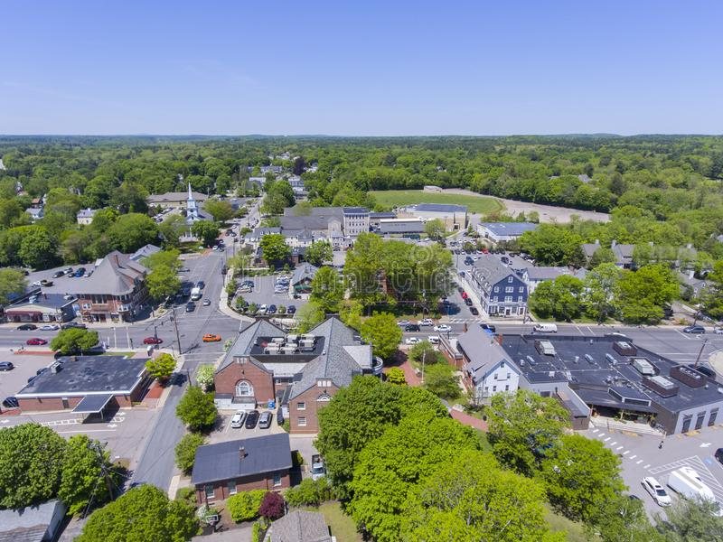 Medfield aerial view, Massachusetts, USA. Aerial view of Medfield historic town center and Maine Street in summer, Medfield, Boston Metro West area royalty free stock photo