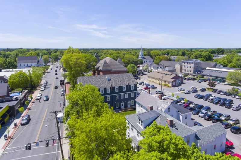 Medfield aerial view, Massachusetts, USA. Aerial view of Medfield historic town center and Maine Street in summer, Medfield, Boston Metro West area royalty free stock images