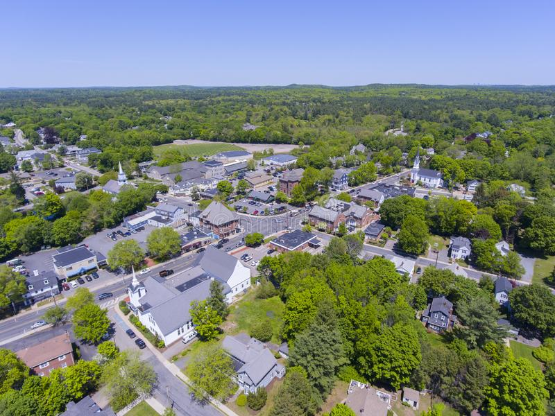 Medfield aerial view, Massachusetts, USA. Aerial view of Medfield historic town center and Maine Street in summer, Medfield, Boston Metro West area stock photos