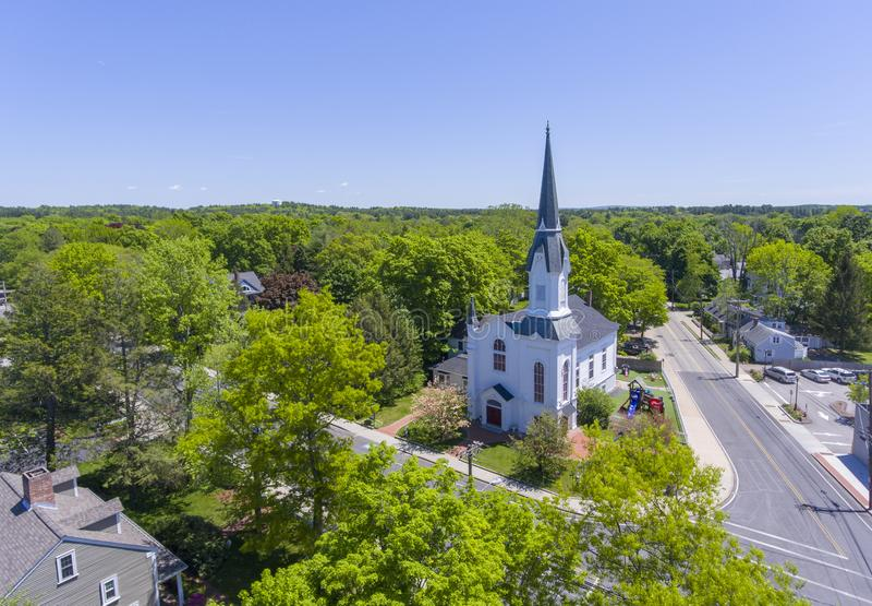 Medfield First Baptist Church, Massachusetts, USA. Aerial view of First Baptist Church at Medfield historic town center on Maine Street in summer, Medfield royalty free stock image