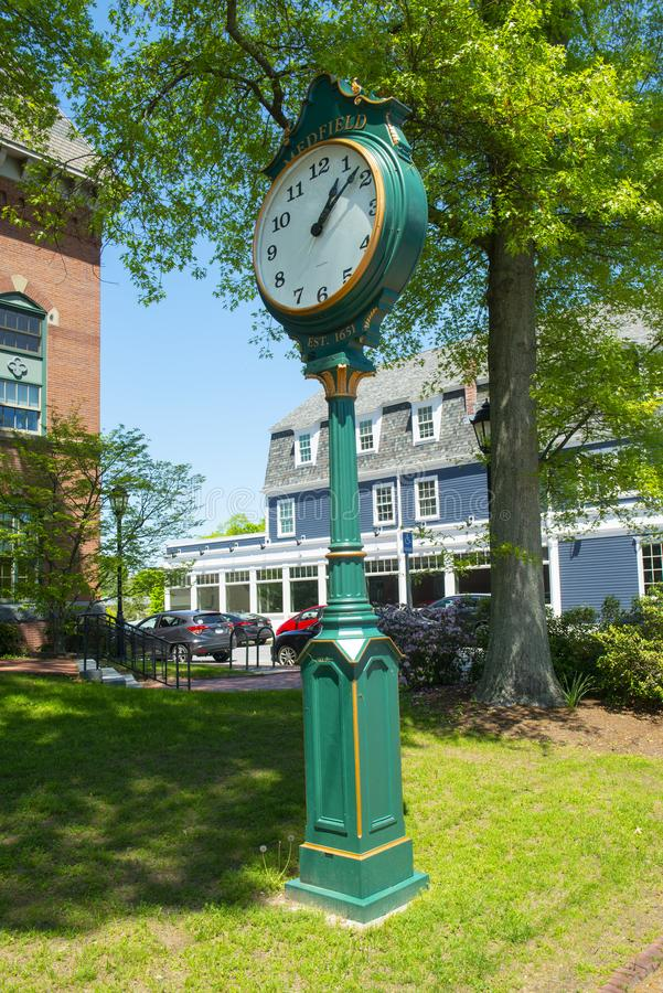 Medfield town clock, Massachusetts, USA. Medfield town clock in front of town hall on Main Street at the town center of Medfield in Boston Metro West area royalty free stock photo