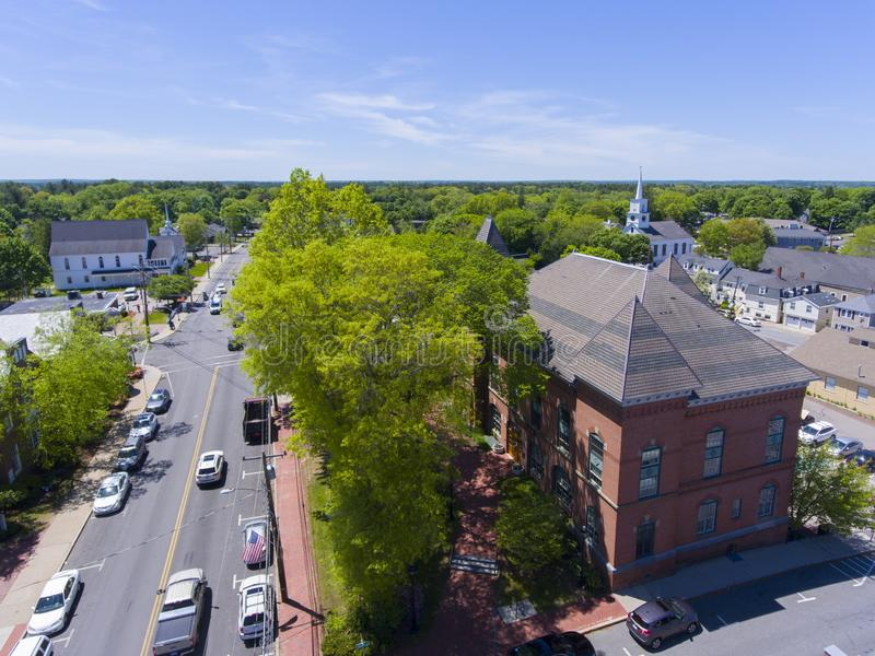 Medfield Town Hall, Massachusetts, USA. Medfield town hall aerial view on Main Street at the town center of Medfield in Boston Metro West area, Massachusetts stock images