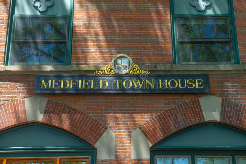 Medfield Town Hall, Massachusetts, USA. Medfield town hall on Main Street at the town center of Medfield in Boston Metro West area, Massachusetts, USA royalty free stock photography