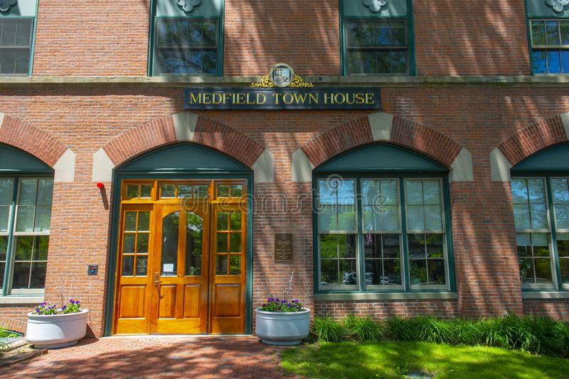 Medfield Town Hall, Massachusetts, USA. Medfield town hall on Main Street at the town center of Medfield in Boston Metro West area, Massachusetts, USA stock image