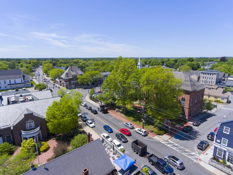 Medfield Town Hall, Massachusetts, USA. Medfield town hall aerial view on Main Street at the town center of Medfield in Boston Metro West area, Massachusetts stock photos