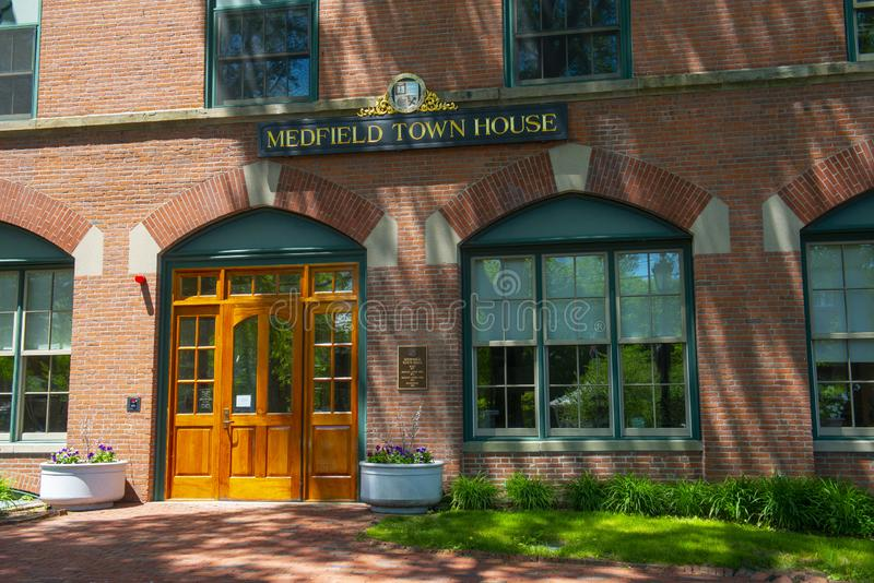 Medfield Town Hall, Massachusetts, USA. Medfield town hall on Main Street at the town center of Medfield in Boston Metro West area, Massachusetts, USA stock images