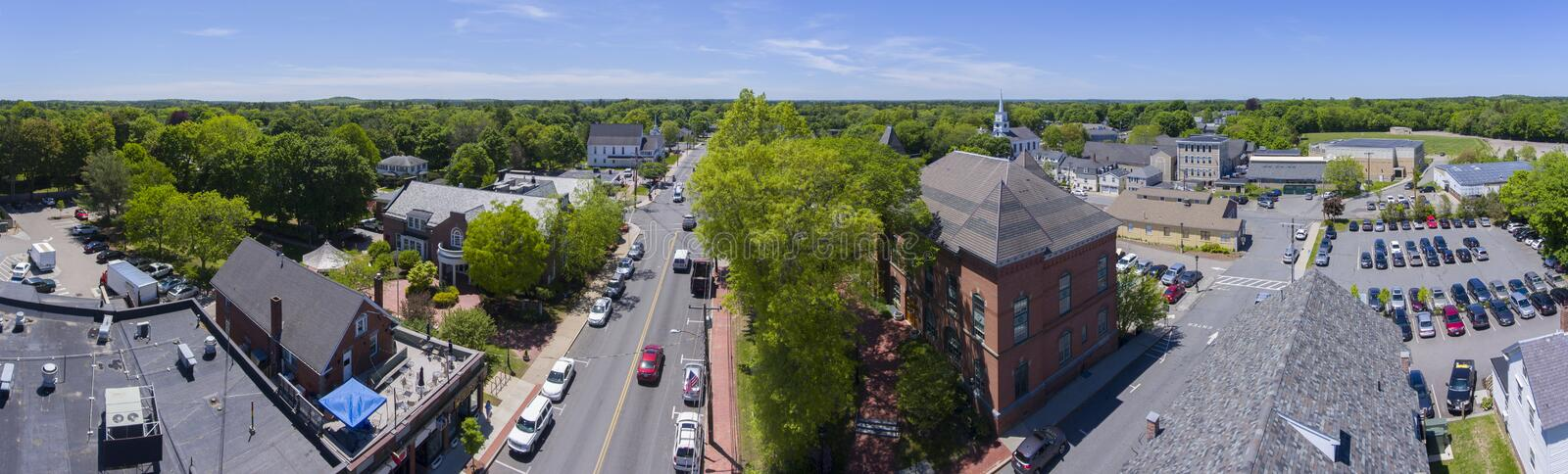 Medfield Town Hall, Massachusetts, USA. Medfield town hall panorama aerial view on Main Street at the town center of Medfield in Boston Metro West area stock photography