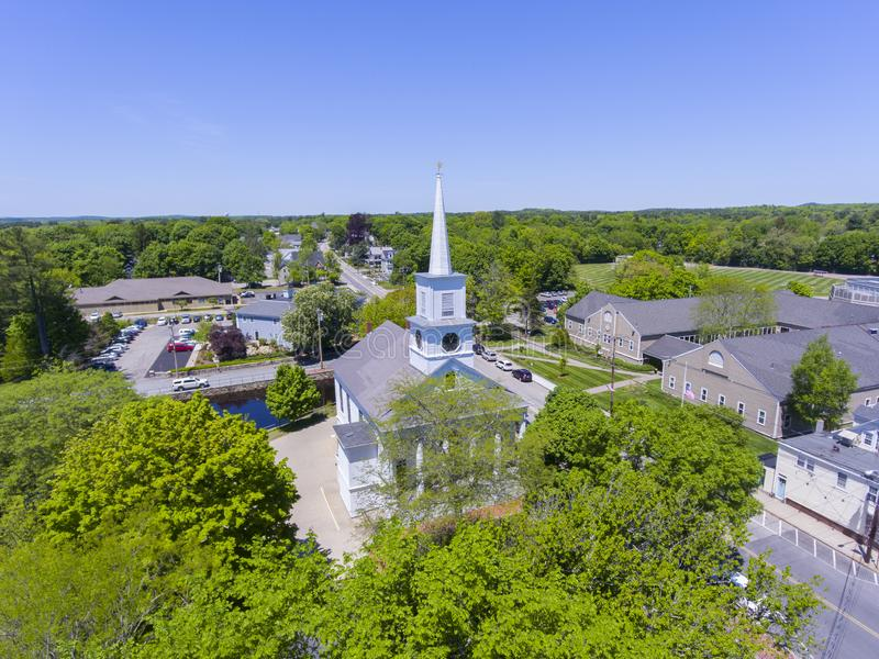 Medfield Unitarian Church, Massachusetts, USA. Aerial view of Unitarian Church at Medfield historic town center on Maine Street in summer, Medfield, Boston Metro stock images