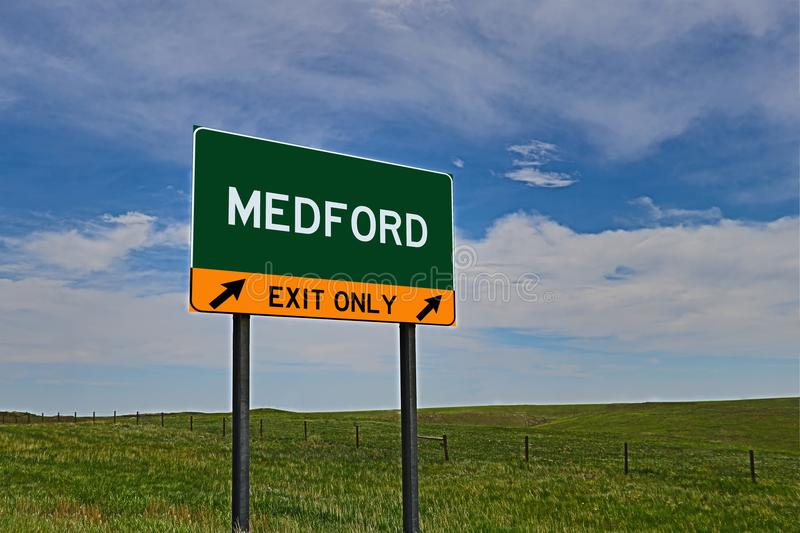 US Highway Exit Sign for Medford. Medford `EXIT ONLY` US Highway / Interstate / Motorway Sign stock photos