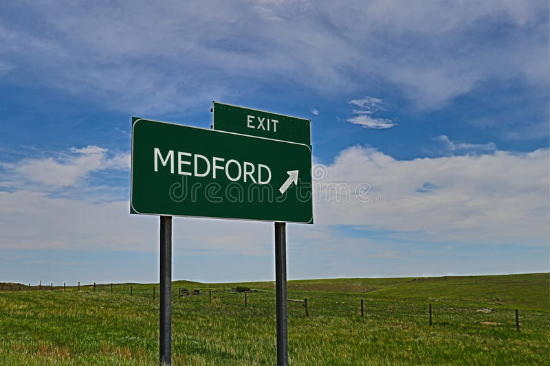 Medford. US Highway Exit Sign for Medford HDR Image royalty free stock image