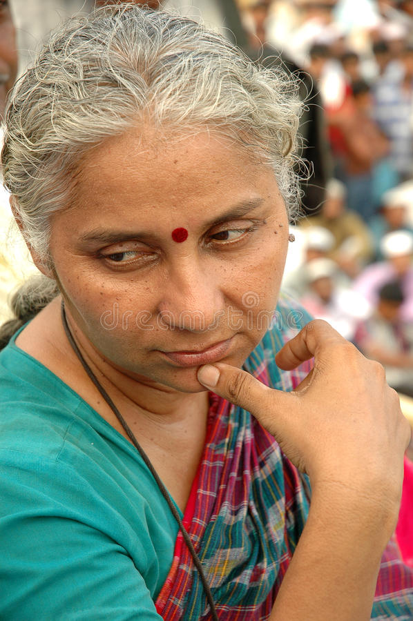Medha Patkar-a social activist from India. Medha Patkar ,born December 1, 1954) is a social activist from India.On March 28,2006, she started a hunger-strike to royalty free stock photography