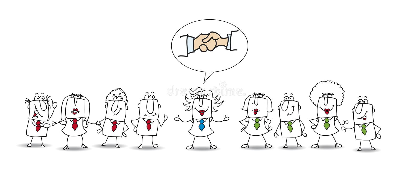 Mediação entre duas equipes de trabalho ilustração royalty free