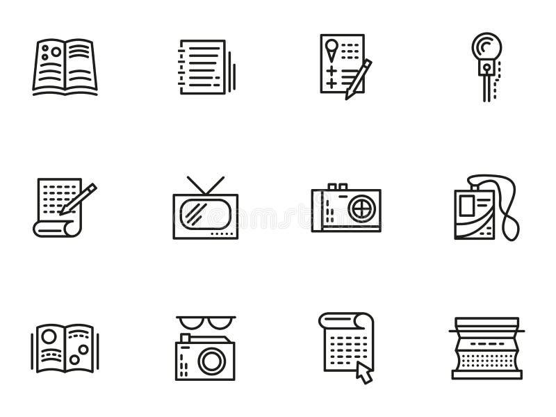 Media éditant la ligne simple icônes de style illustration libre de droits