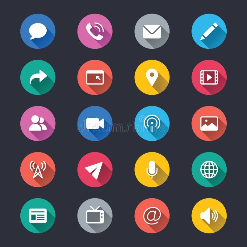 MEDIA και απλά εικονίδια χρώματος επικοινωνίας διανυσματική απεικόνιση