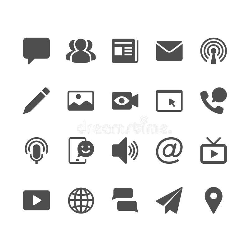 MEDIA και εικονίδια επικοινωνίας glyph απεικόνιση αποθεμάτων