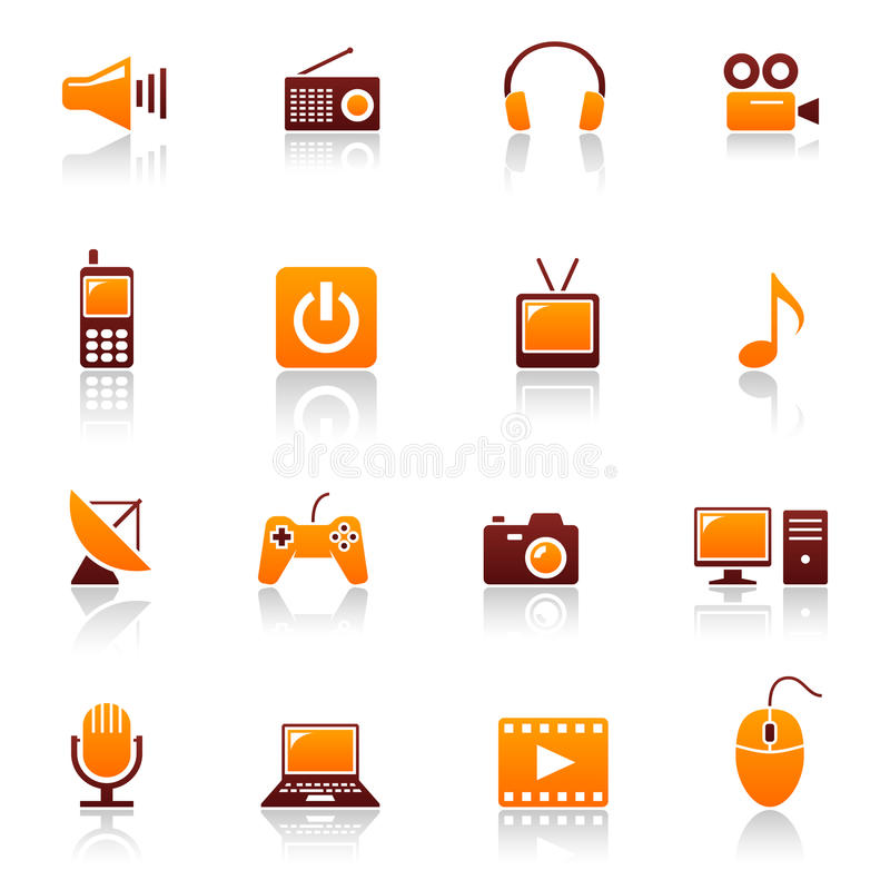 Media & ícones das telecomunicações ilustração royalty free