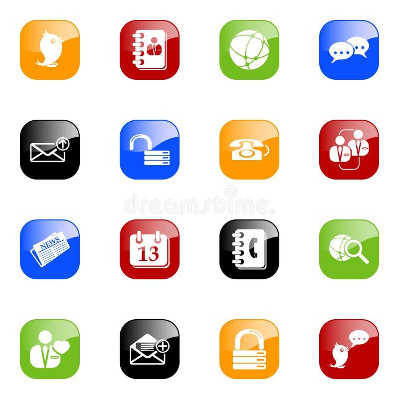 Media & ícones sociais do blogue - colora a série ilustração do vetor