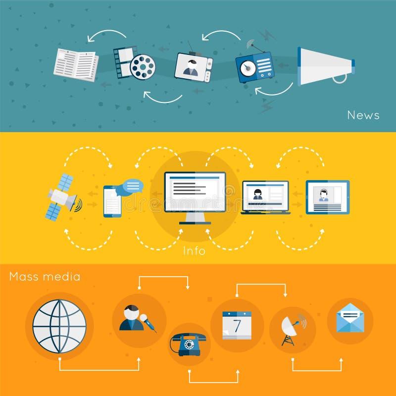 Media banner set. Mass media banner news info flat set with satellite megaphone microphone isolated vector illustration stock illustration