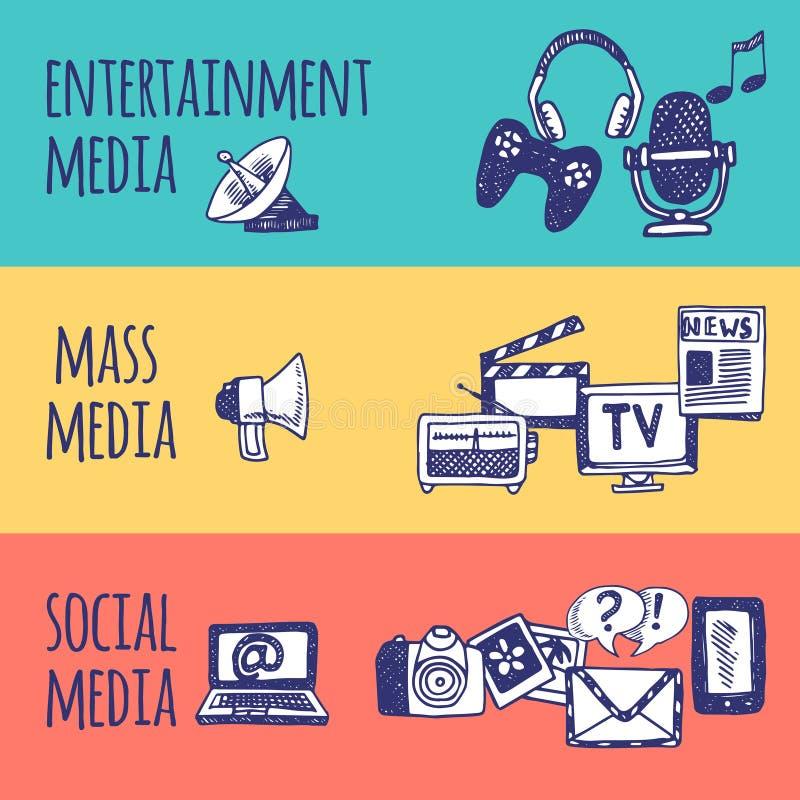 Media Banner Set. Mass social media entertainment horizontal hand drawn banner set isolated vector illustration vector illustration