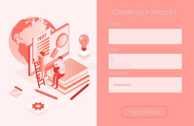 Media boekbibliotheek, online test, vector illustratie