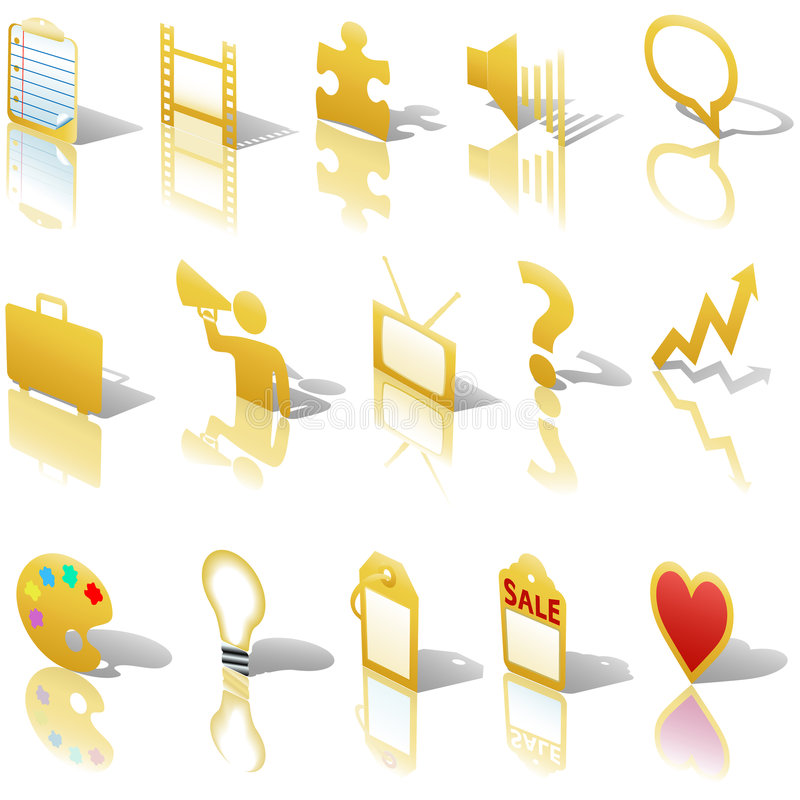 Free Media Business Icons Reflections Shadows Set Royalty Free Stock Images - 6003479