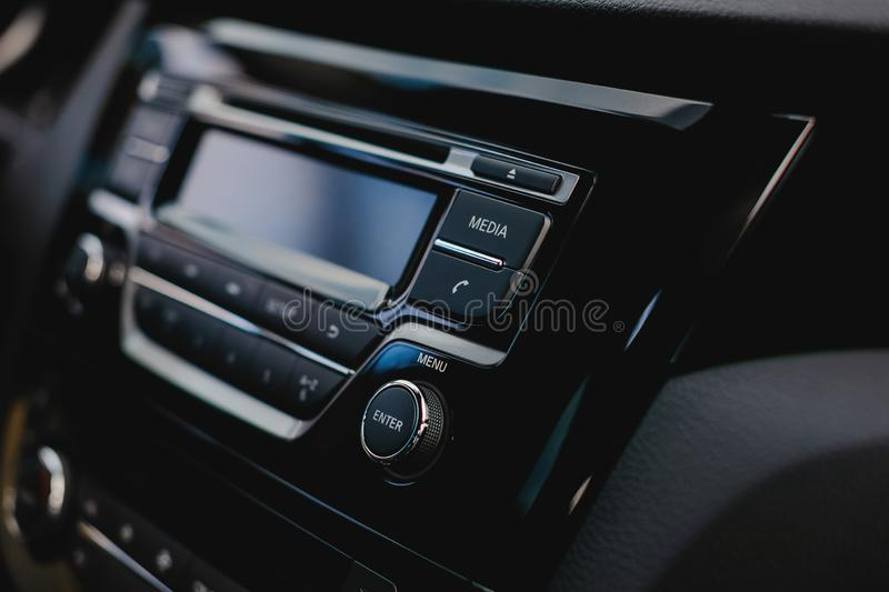Media button in car audio system. Phone icon in auto. royalty free stock photos