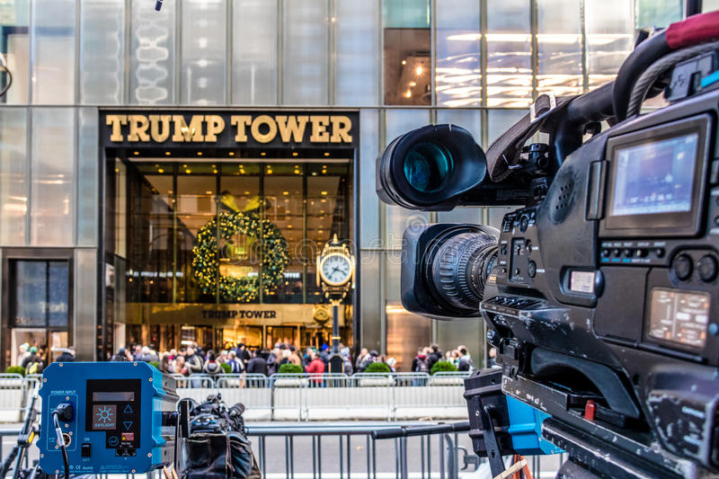 Media camera equipments recording the front of Trump Tower, residence of president elect Donald Trump - New York, USA stock photography