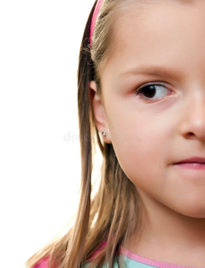 Media cara de la muchacha foto de archivo
