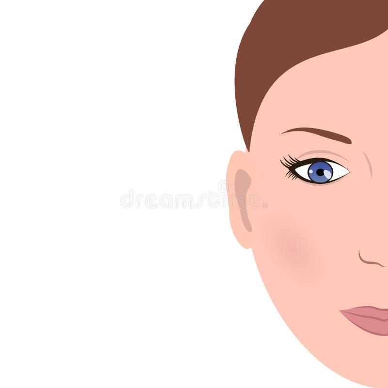 Media cara de la mujer stock de ilustración