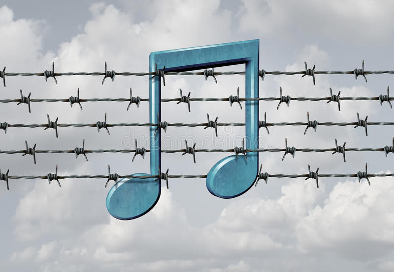 Media Censorship. Concept and music restriction symbol as a musical note on a barb or barbed wire fence element as a metaphor for parental control or banning royalty free illustration