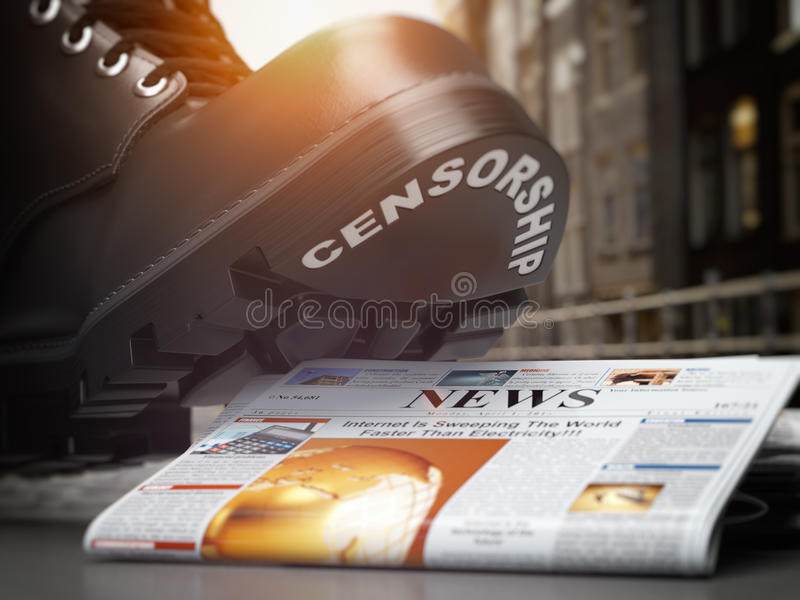Media censorship and right of freedom of speech concept. Boot wi. Th text censorship and pile of newspaper. 3d illustration stock illustration